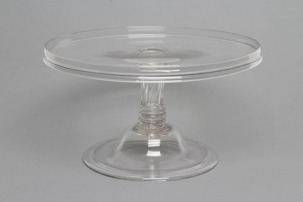 """A GEORGIAN GLASS TAZZA, the plain circular stand on moulded Silesian stem and folded foot, 11 1/2"""""""