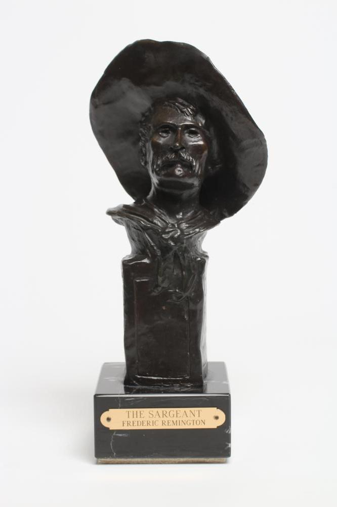 """ROY HARRIS AFTER FREDERIC REMINGTON (1861-1909), """"The Sargeant"""", signed bronze, dark brown"""