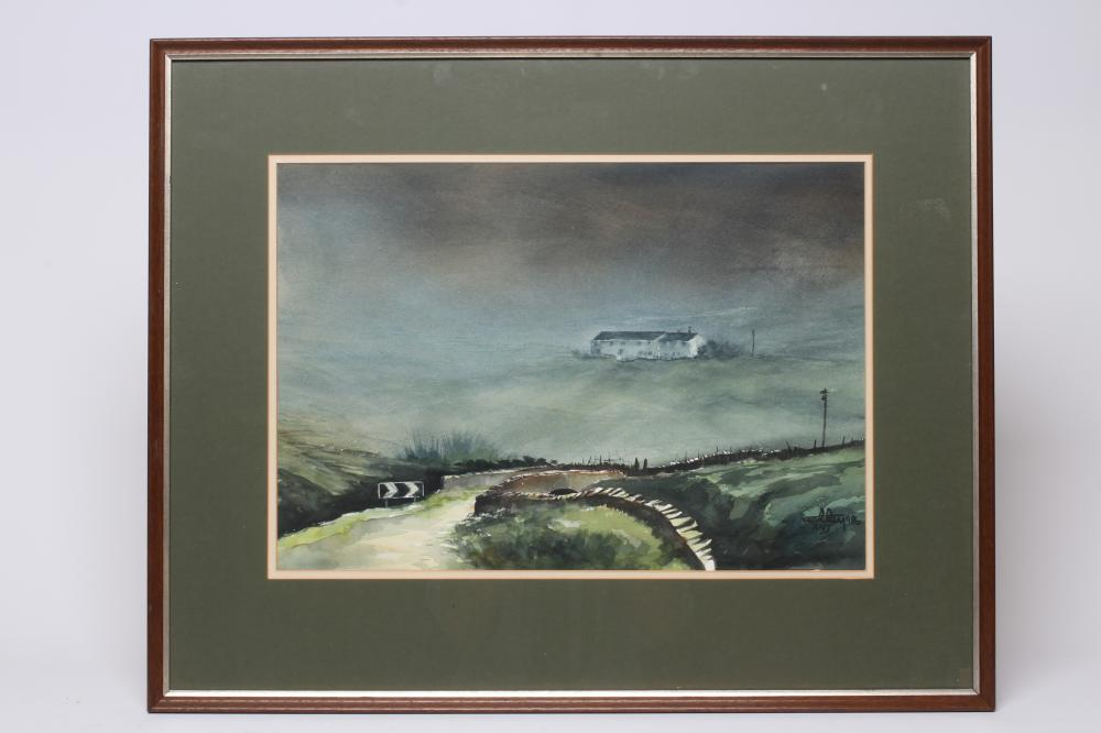 """ASHLEY JACKSON (b.1940), """"Mist Comes Down the Moor"""", watercolour, signed and dated 1986, inscribed"""