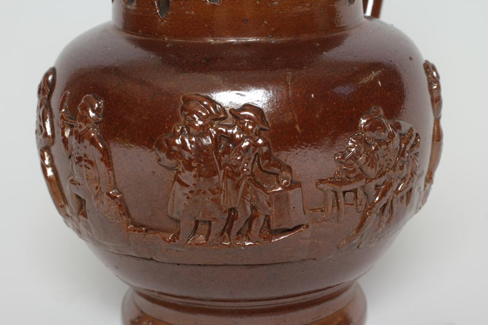 A VICTORIAN BROWN SALT GLAZED STONEWARE PUZZLE JUG of typical form with three spouts, the sprigged - Image 2 of 3