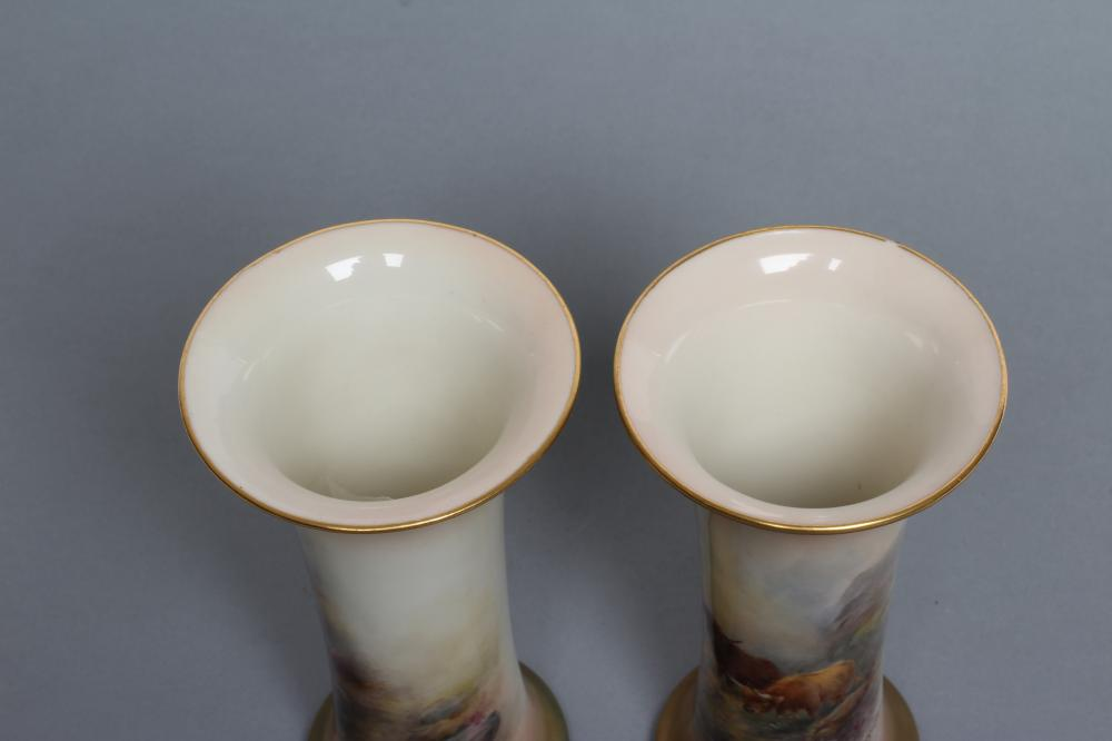 A PAIR OF ROYAL WORCESTER CHINA VASES, c.1921, of waisted cylindrical form, painted in polychrome - Image 5 of 6