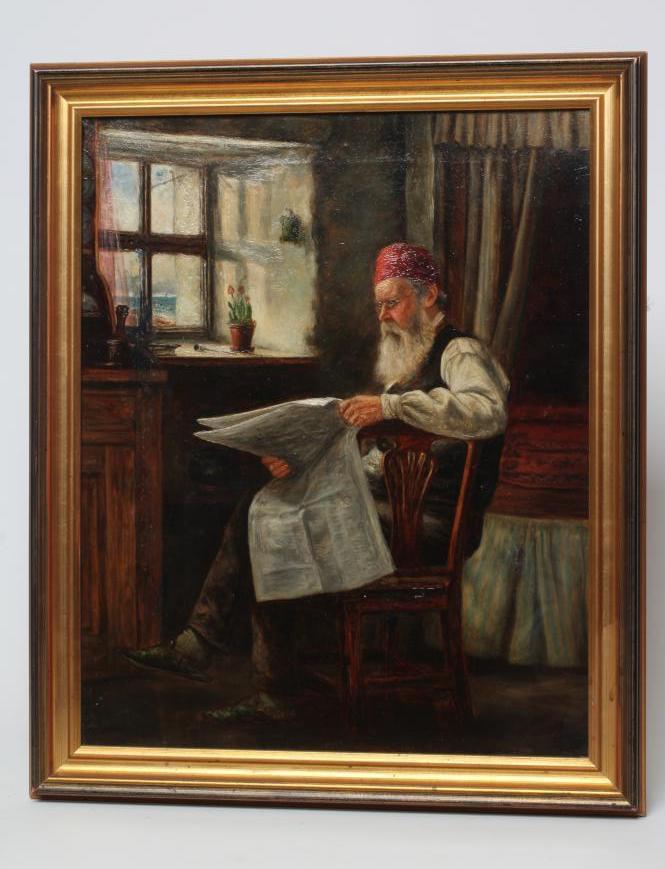 ALEXANDER DAVIDSON (1838-1887), Coastal Cottage Interior with Man Reading Newspaper, oil on