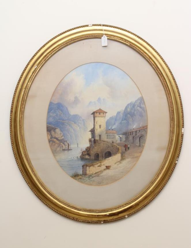 EDWIN EARP (1851-1945), Alpine Lake Scene, watercolour and pencil heightened with white, oval,