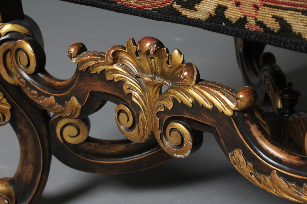 A CAROLEAN STYLE EBONISED BEECH AND PARCEL GILT ARMCHAIR, early 20th century, the padded back with - Image 2 of 8