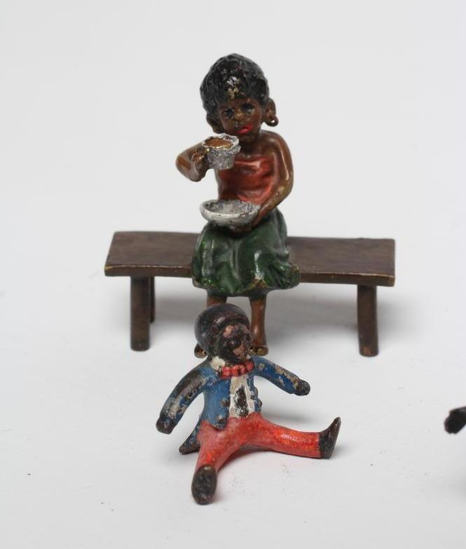 SIX VIENNA TYPE COLD PAINTED BRONZE MINIATURES, comprising a boy seated astride a crocodile, 2 1/ - Image 2 of 4