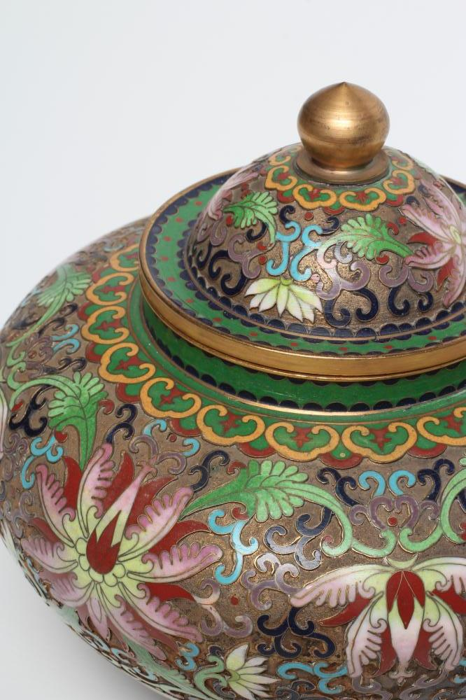 A CHINESE CLOISONNE ENAMEL JAR AND COVER of squat baluster form, the raised brass ground enamelled - Image 2 of 4