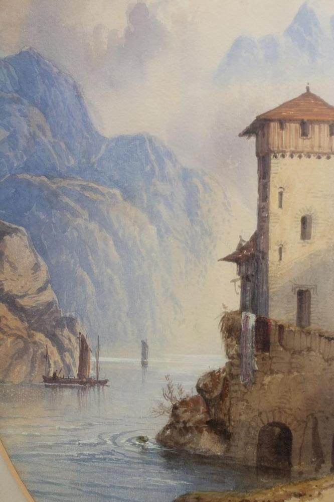 EDWIN EARP (1851-1945), Alpine Lake Scene, watercolour and pencil heightened with white, oval, - Image 3 of 4