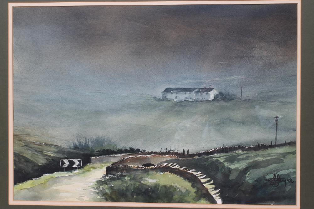 """ASHLEY JACKSON (b.1940), """"Mist Comes Down the Moor"""", watercolour, signed and dated 1986, inscribed - Image 2 of 2"""