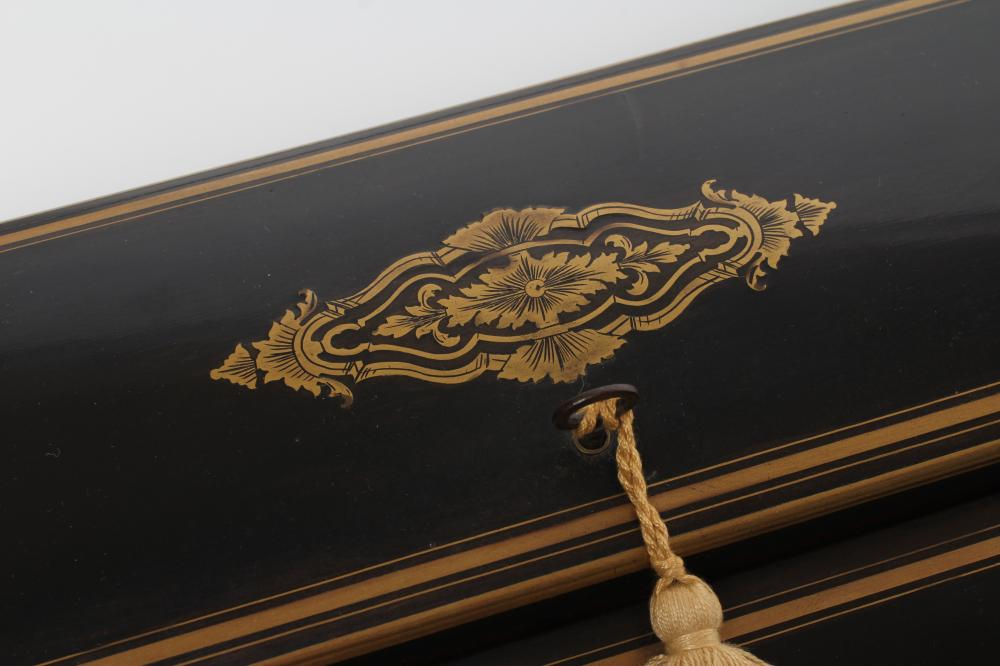 AN EBONY AND BRASS INLAID WRITING BOX, mid 19th century, of oblong form, the folding slope inlaid - Image 8 of 8