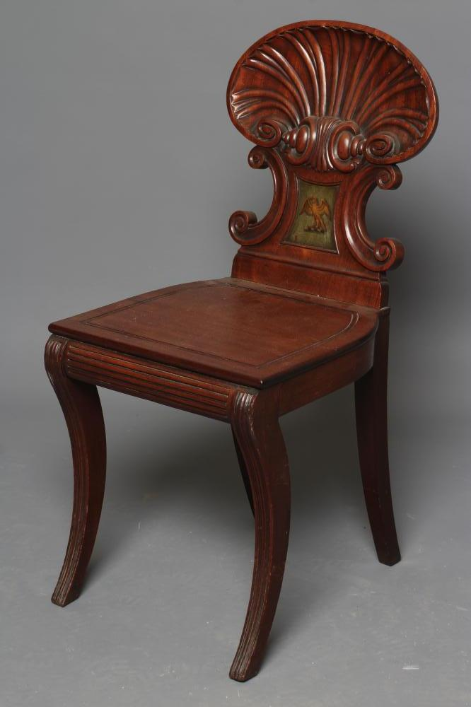 A REGENCY MAHOGANY HALL CHAIR in the manner of Gillow, the shell carved back of C scroll supports - Image 2 of 5
