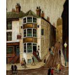 "ARTHUR DELANEY (1927-1987), Street Scene with Figures, oil on board, signed, 13 1/4"" x 15 1/4"", gilt"
