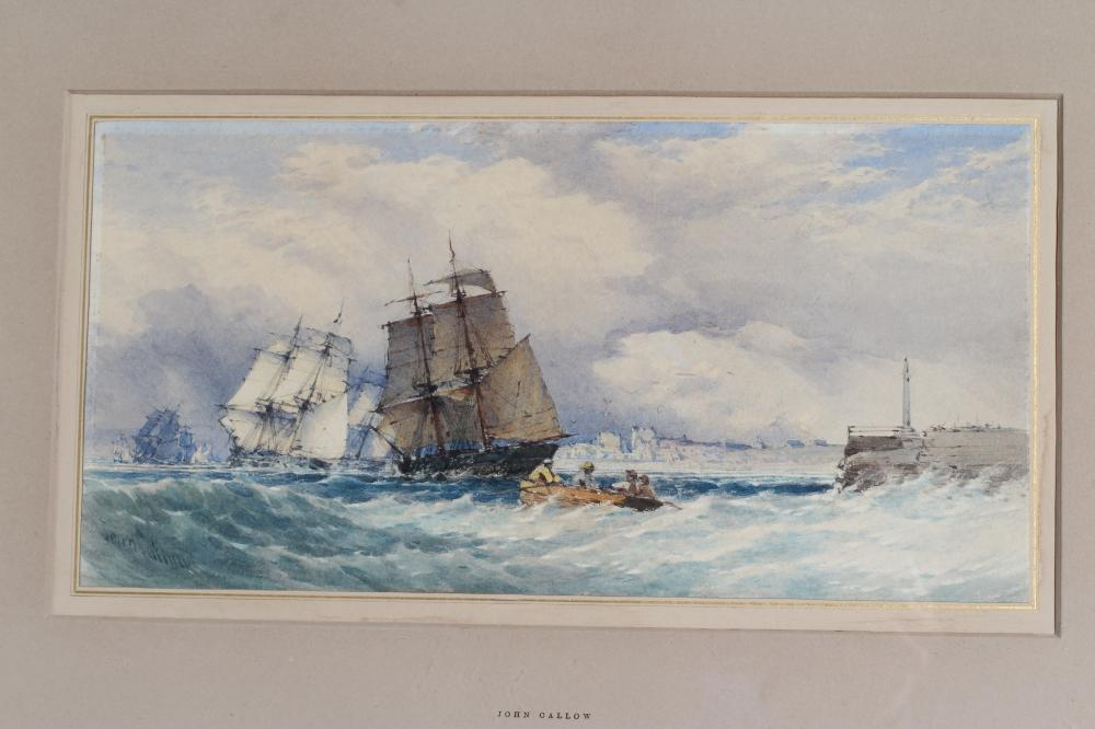 JOHN CALLOW (1822-1878), Shipping in Squally Seas and Beached Sailing Vessel, a pair, watercolour - Image 2 of 4