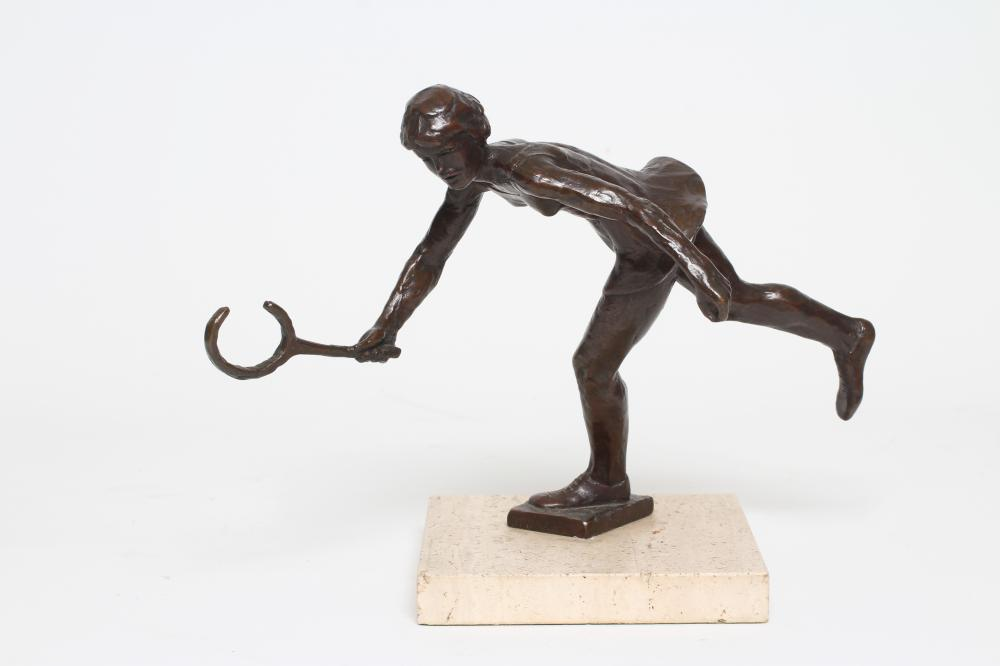 """KELSEY STERETT-GITTINGS (American b.1941), """"The Tennis Player"""", bronze, limited edition, on square"""
