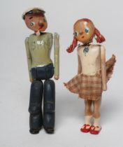 """Popeye and Olive Oyl dolls of jointed and painted wooden form, 3 1/2"""" long (Est. plus 21% premium"""