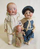 """Three bisque head dolls, comprising an 11"""" Armand Marseille socket head doll with blue glass"""