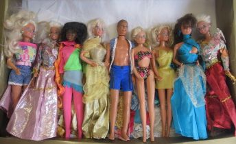 Eight various Barbie dolls and a Ken, five Barbies date stamped for 1976 to neck, one in turquoise