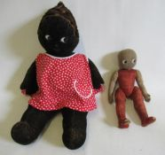 """A Merrythought mulatto girl, with felt body and sideways glancing eyes, 23 1/2"""" long, together"""