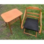 A beechwood framed folding chair and a teak side table with undershelf. Chair height to seat