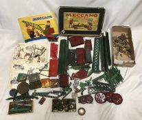 Meccano collection, accessory outfit, 2A box, instruction booklets, Meccano screws tins, playworn