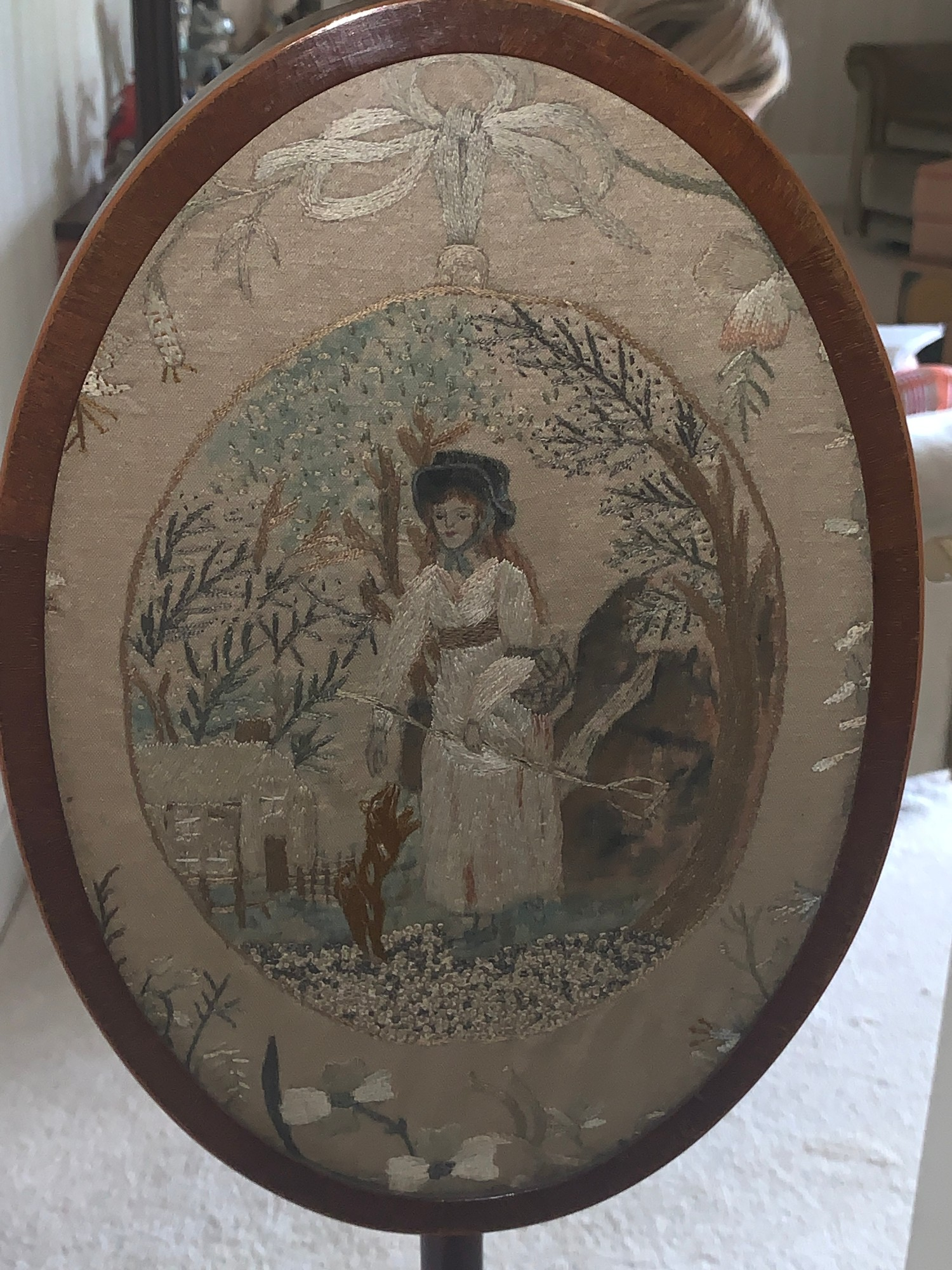 A Victorian mahogany pole screen on tripod base with embroidery to top. 131cms h.Condition - Image 2 of 4