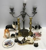 A mixed selection to include silver plated candelabra, brass candle sticks 27cms h, cowbell, pottery