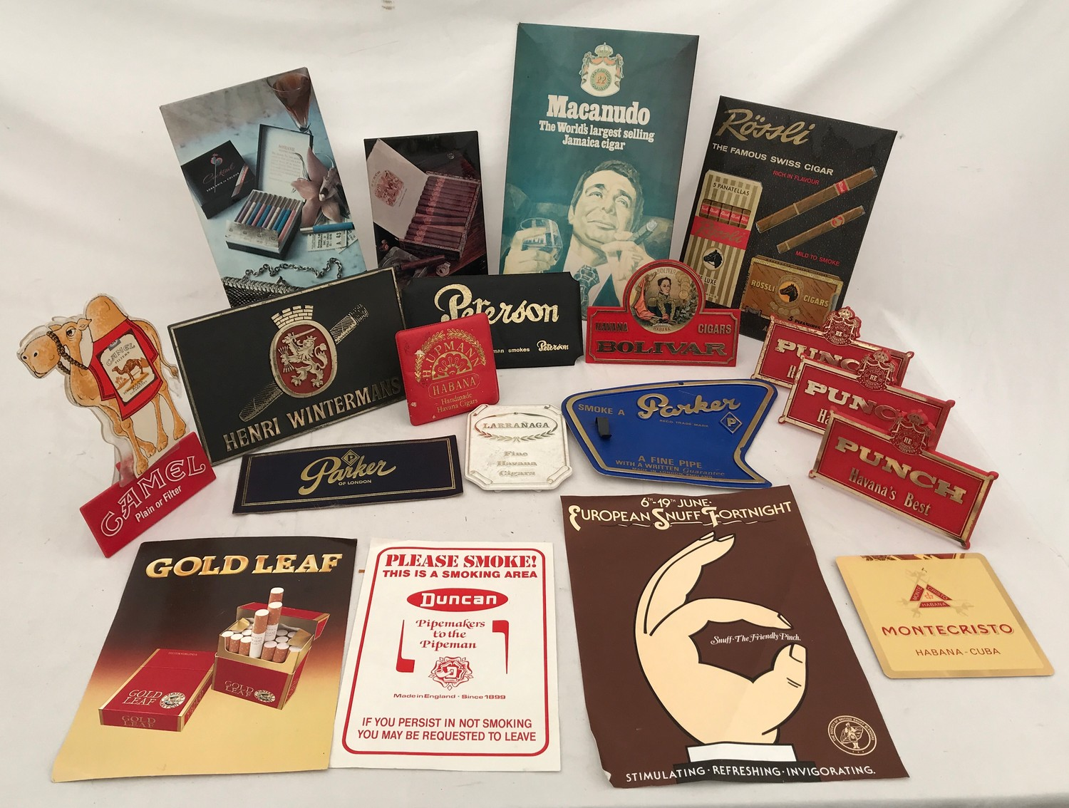 Tobacco shop metal and plastic cigar, cigarette and snuff advertising, Sobranie, Punch, Macanudo,