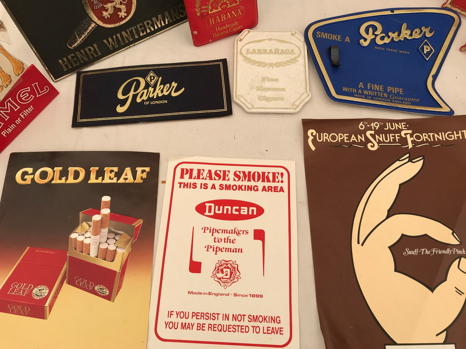 Tobacco shop metal and plastic cigar, cigarette and snuff advertising, Sobranie, Punch, Macanudo, - Image 7 of 7