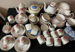 Part tea and coffee services including Crown Staffordshire, Minton, Royal Grafton, Royal Stafford.