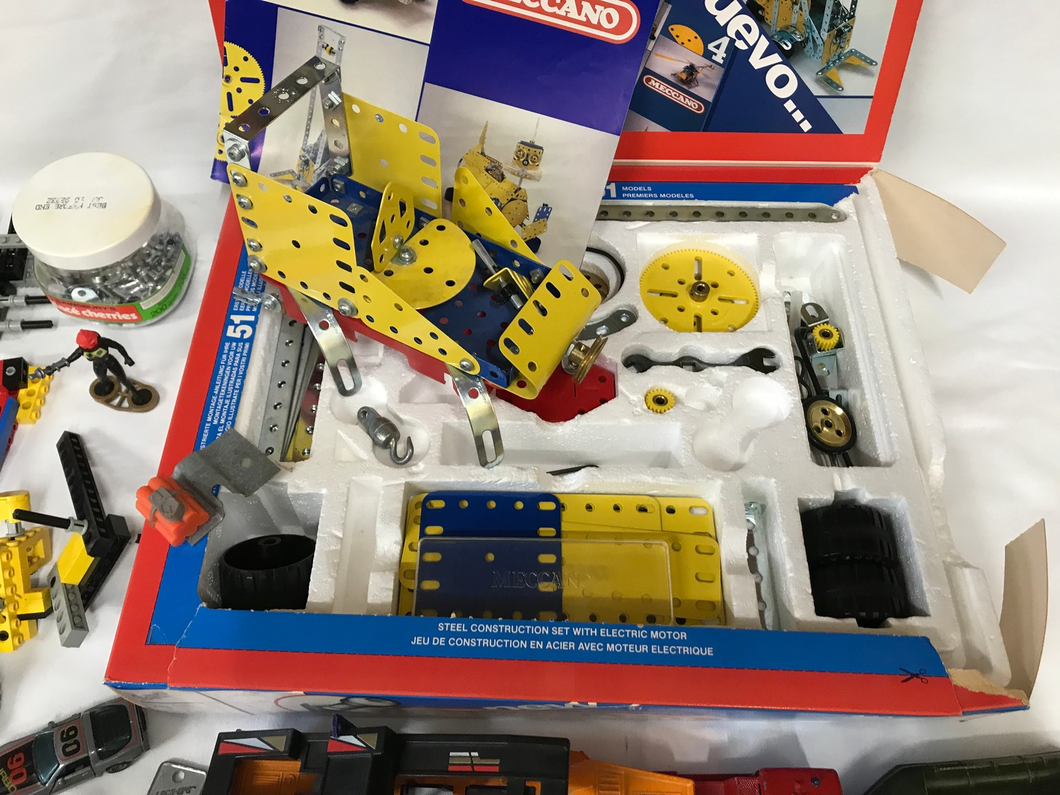 Meccano set number 4, boxed, assorted Lego pieces and plastic vehicles, playworn.Condition - Image 2 of 4