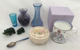 Various items to include two Caithness glass vases 12.5cms h and 9.5cms h, a small Mary Gregory blue
