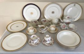 A quantity of tea ware to include 5 Coalport crested plates, 2 chateau, one gold wheat, one