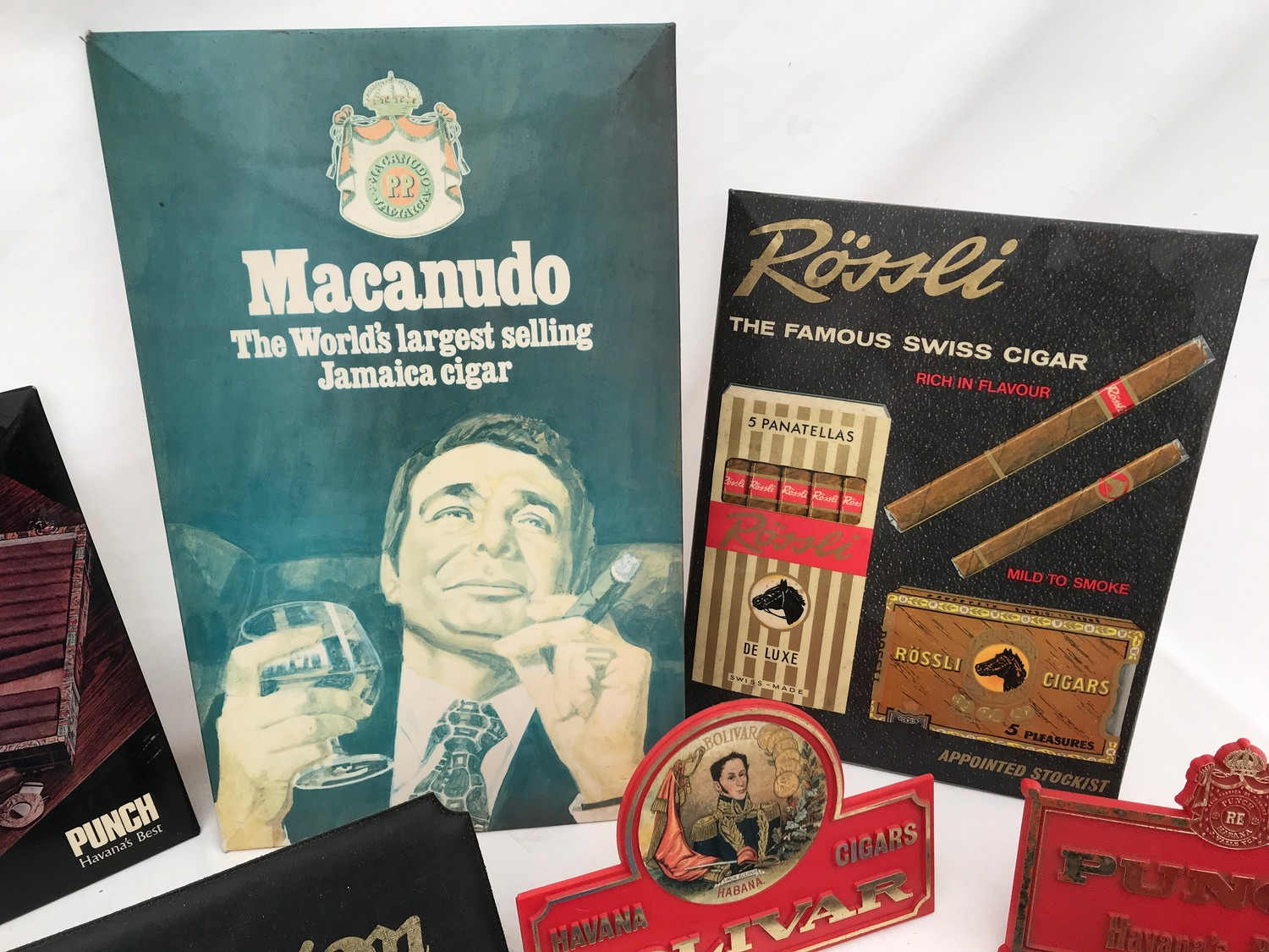 Tobacco shop metal and plastic cigar, cigarette and snuff advertising, Sobranie, Punch, Macanudo, - Image 2 of 7