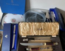A miscellany to include a boxed Royal Worcester cake plate, a Butler Cutlery carving set, an Aynsley