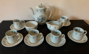 """A Wedgewood """"Travel"""" coffee service designed by Ravilious comprising : coffee pot, milk, sugar and"""