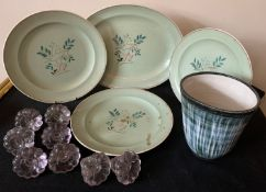 Four Poole pottery plates, 8 glass knobs and a Rye pottery plant pot.Condition ReportOne plate