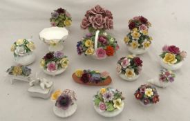A selection of 17 ceramics to include 14 posies by various makers to include 2 Coalport, 3 Royal