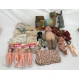 A selection of plastic and soft toys including Chad Valley tin globe, plush fur teddy 25cms, Rabbit,