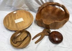 A Tasmanian Sassafras wood fruit bowl 32cms w, small bowl 17cms, lidded wooden bowl 12cms , carved