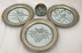 A set of three Caithness pewter plate rimmed glass plates 20.5cms w with images of birds together