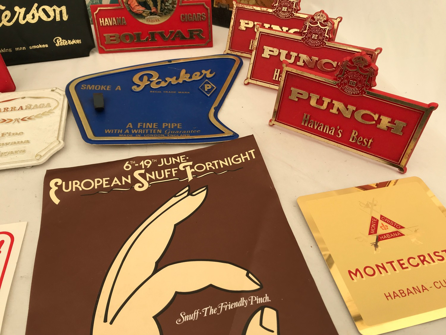 Tobacco shop metal and plastic cigar, cigarette and snuff advertising, Sobranie, Punch, Macanudo, - Image 6 of 7