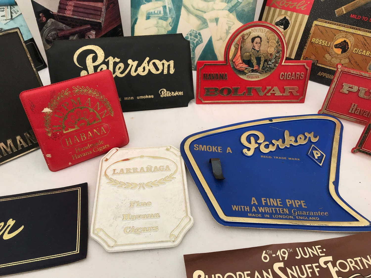 Tobacco shop metal and plastic cigar, cigarette and snuff advertising, Sobranie, Punch, Macanudo, - Image 5 of 7