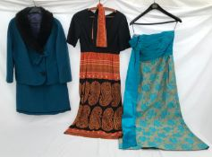 """A ladies teal suit with fur collar by Harella, skirt 28"""", a 70's style paisley print Polly Peck"""