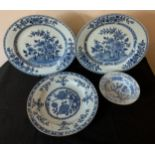 Three 18thC Chinese blue and white plates, largest 31.5cms together with a bowl.Condition