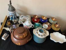 Miscellaneous ceramics to include Bavarian coffee service, tankard, 19thC fairing, Coalport dish,