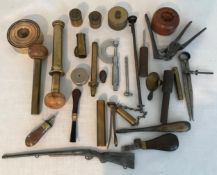 Selection of gun makers repair and cleaning tools and accessories, brass stamp base, 0 to 1 inch
