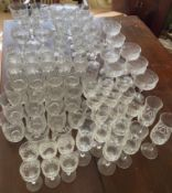 A suite of full lead crystal glasses to include 7 champagne 14cms h, 9 liqueur, 9 sherry, 10 whisky,