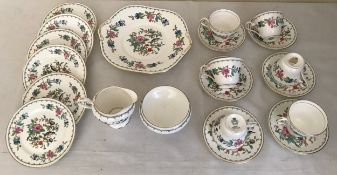 An Aynsley Pembroke part tea service, 21 pieces in total comprising : cake plate 27cms d, cream