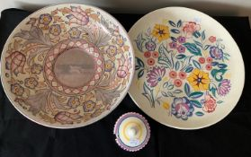 Poole pottery plate 34cms d and jam pot and Charlotte Rhead bowl.Condition ReportCharlotte Rhead
