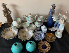 Ceramics including Noritake coffee service, 2 small blue/white plates, two Elsi Bourelius Swedish