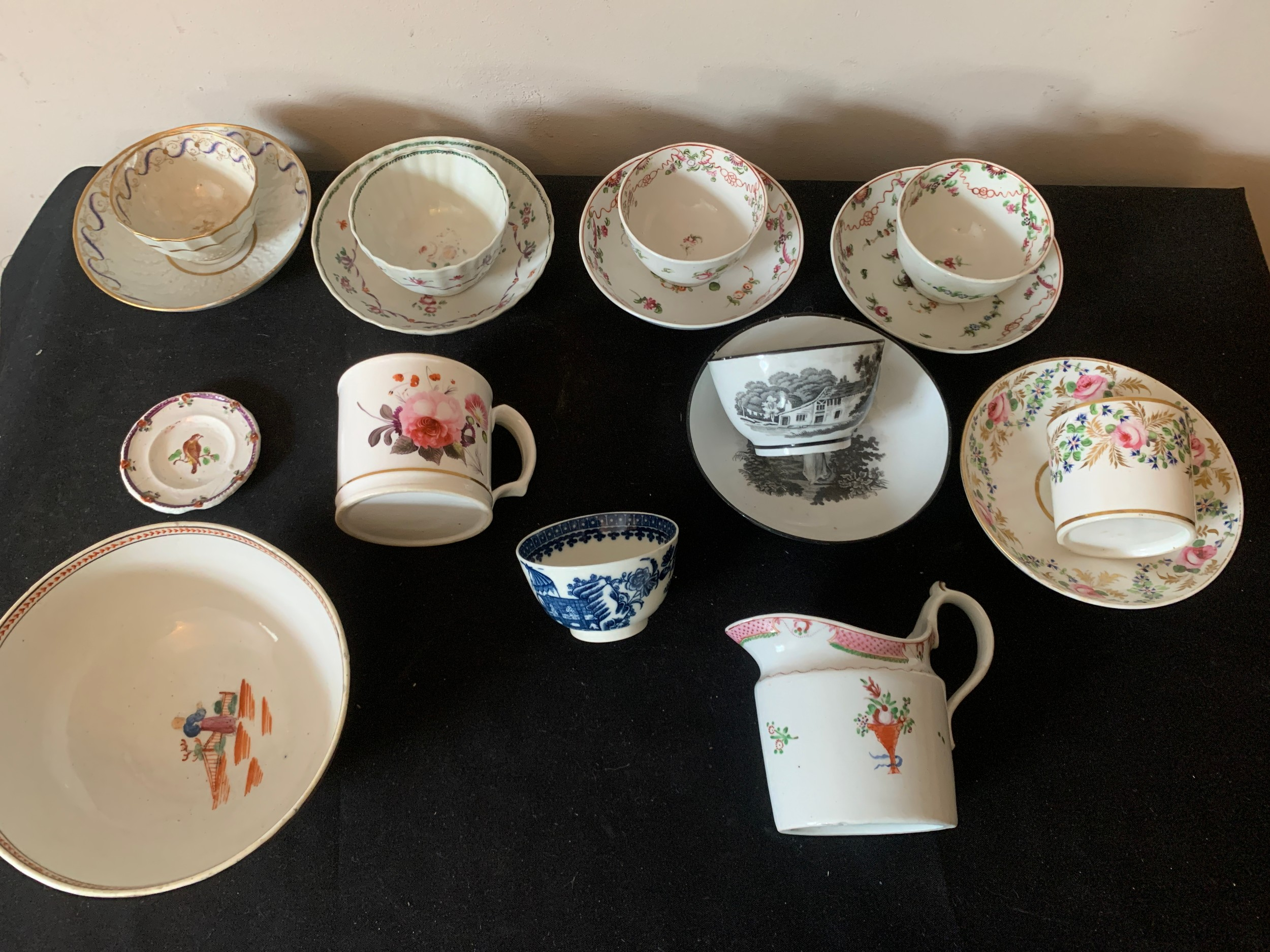 A quantity of 18thC/19thC ceramics to include tea cups, bowls, saucers, jug and child's plate. - Image 2 of 2